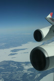 Engines of JL 747, snow covered Canadian interior