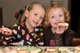 Macey & Ellie helping Grandma make Christmas Cookies