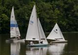 Variety of sailboats on Acton Lake,  Hueston Woods State Park