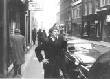 Outside  Vidal Sassoon 171 New Bond st. salon in 1966. Sean Jones and Mich Field