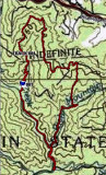 Map Of Hike, The blue flag marks were the First Waterfalls is
