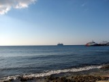 A cruise ship in the distance