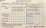 1939 - Jack High's Miami High School report card for February thru June 1939 for printing class