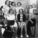 1940's - closeup of Lutrelle Conger and her co-workers at Pan American Airways System in Miami