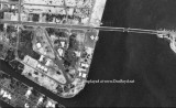 1952 - aerial view of the west end of the 79th Street Causeway in Miami, Florida