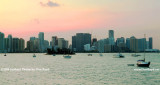 2009 - sunset sky behind the high rise buildings of Brickell Avenue, Brickell Key and downtown Miami (#1667)