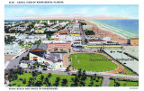 1950's - postcard aerial view of Miami Beach with the Miami Beach Dog Track in the foreground