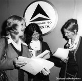 1972 - Delta stewardesses Susan Lowden (now Jacobs) from Miami and Hialeah, Debbie Booth and Cindy Rutherford at ATL airport