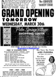 1960 - ad for the grand opening of G. C. Murphy's at the Palm Springs Village Shopping Center on March 30th