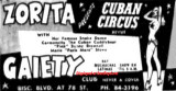 1955 - ad for Zorita and the Cuban Circus Revue with her famous snake dance at the Gaiety Club
