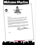 1956 - letter to Miami Marlins from Miami Mayor Randy Christmas about start of AAA baseball in Miami