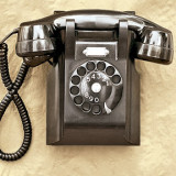 Telephones - black, dial, prefixed telephone numbers (TUxedo 7-4891) and party lines