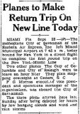 1929 - article about Eastern Air Express (later Eastern Air Lines) service from Miami Municipal Airport to New York