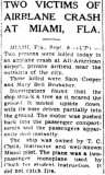 1936 - article about T. C. Chalk's aircraft involved in crash at All-American Airport, Dade County