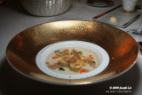 Capelletti and consomme of capon from Cilento scented with fresh thyme