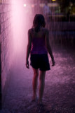 girl in pink fountain light