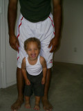 Me and Daddy showing muscles