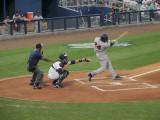 Deibinson Romero singles to center field