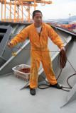 Preparing to Cast Line Ashore