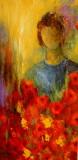 Blumenmädchen Leinwand 40x80 Mischtechnik