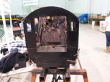 The cab of the N2sa. Eventually the firebox doors will be replaced with working steam-powered butterfly firebox doors.