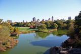 View from Belvedere Castle Courtyard - Turtle Pond, Great Lawn &  Manhatten Northeast Skyline