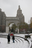 Snow Flurries, The Fountain, Arch, Christmas Tree & Lower 5th Avenue