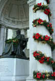 William Cullen Bryant Memorial with Winter Holiday Decorations