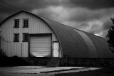 Semi-Quonset before a storm