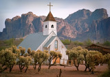 Church in the shadow of the Superstition Mountains