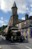 Trucks passing along the streets of Uppermill