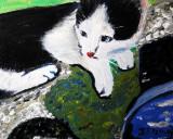 Ginger kitten painted on board