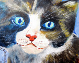 Fluff the cat painted on board in oils.
