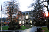 The park and library in Uppermill, Oldham