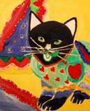 Folk Arty Cat on 10 x 8 inch board.