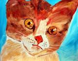 Cute Brown kitten painted in oils