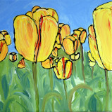 YELLOW TULIPS now for sale mixed media