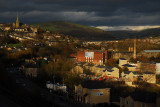 Mossley with St Johns The Baptist and Woodend Mills Chimney.