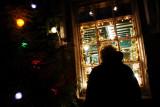 Looking Through Christmas Light Window in Castleton