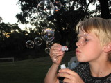 Blowing bubbles for Sarah
