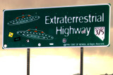 The oficial sign for the 375 Extraterrestrial Highway