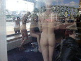 Crina looking in window