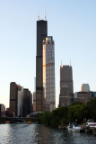 Sears Tower from the Chicago river and 311 South Wacker Drive, Chicago