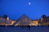 Pyramid of the Louvre under a moonlit sky, Paris, France