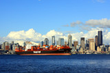 Seattle skyline with container ships