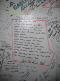 American Pie lyrics by Don McLean written on dressing room wall.