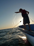 Rob and the diaphanous net at sunset
