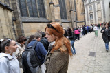 In line for the cathedral