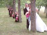 Peeking bridal party