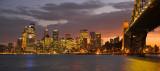 Sydney skyline and harbour bridge fiery sunset